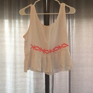 White and pink crop top!
